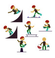 a set of characters engaged in active sport vector image vector image
