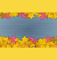 autumn leaves on wooden vector image vector image