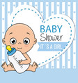 baby boy with bottle vector image vector image