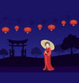 beautiful japanese girl in red traditional kimono vector image vector image