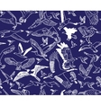 Birds night blue seamless pattern wallpaper vector image
