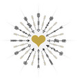 black and golden circle heart targeting arrows vector image vector image
