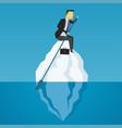 businessman floats on iceberg business challenge vector image