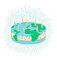 cake icon with candles vector image