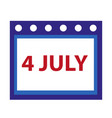 calendar icon flat style 4th july concept vector image vector image