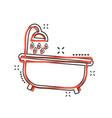 cartoon bathtub icon in comic style bathroom vector image