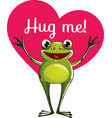 cartoon frog ready for a hugging vector image