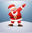 cartoon funny santa claus dabbing dance on sno vector image