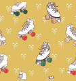 christmas roller skates lace bows on gold vector image