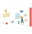 cleaning service landing page template female vector image