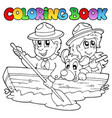 coloring book with scouts in boat vector image