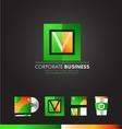 Corporate square letter v logo icon design vector image vector image