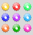 cursor icon sign symbol on nine wavy colourful vector image