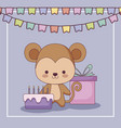cute monkey happy birthday card gift and set icons vector image vector image