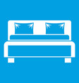 double bed icon white vector image vector image