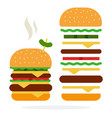 double burger with steam cheese and beef and vector image vector image