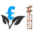 eco pound business startup icon with love bonus vector image