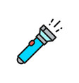 flashlight camp lamp flat color line icon vector image