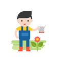 gardener with flower and watering can set vector image vector image