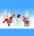 happy santa deer and snowman vector image vector image