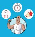 healthy man food equipment sport vector image