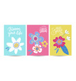 hello spring seasonal banners set artistic vector image