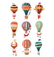 hot air balloon retro icons with pattern gondola vector image vector image