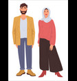 husband and wife wearing traditional clothes vector image