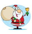 Jolly Christmas Santa Ringing A Bell vector image vector image