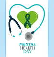 mental health day ribbon in green heart vector image vector image