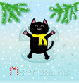 merry christmas black laughing cat laying on back vector image vector image