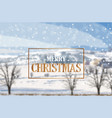 merry christmas golden card on winter landscape vector image