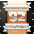 Ninety two years anniversary celebration golden vector image vector image