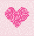 pixel pink heart symbol square pattern for vector image vector image