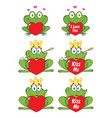 princess frog cartoon character 3 collection set vector image vector image