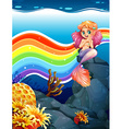 Rainbow and mermaid vector image vector image