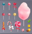 realistic sweets transparent background set vector image vector image