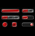 red glossy buttons with return cross icons vector image