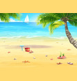 sea shore with palm trees shells bucket vector image vector image