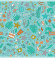 seamless pattern with summer vacation vector image vector image
