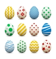 Set of 3d eggs with different patterns for Easter vector image
