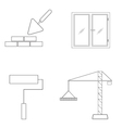 Set of icons of linear construction vector image