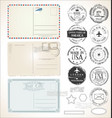 set postal stamps and post cards on white vector image vector image