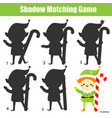 shadow matching game kids activity with christmas vector image vector image