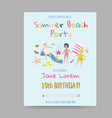 summer beach card with kids and sea creatures vector image vector image