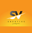 sv s v letter modern logo design with yellow vector image vector image