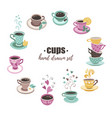 tea cups collection vector image vector image