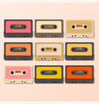vintage audio tapes retro style vector image