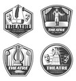 vintage classic theatre emblems set vector image