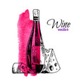 wine bottle and cheese vector image